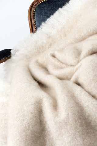 Image of Windermere Toi Toi Beige Mohair Chair Throw