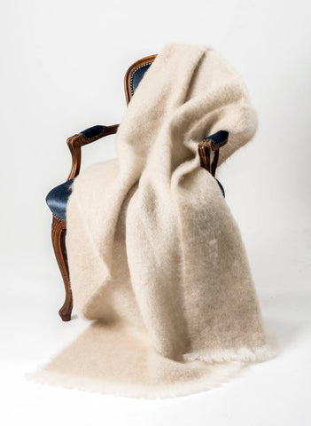 Image of Windermere Toi Toi Beige Mohair Throw Blanket