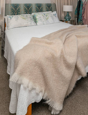 Toi Toi Beige Mohair Throw Blanket