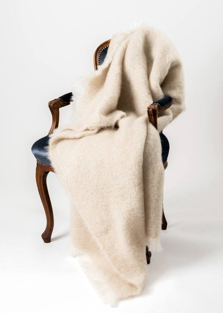 Toi Toi Beige Mohair Chair Throw