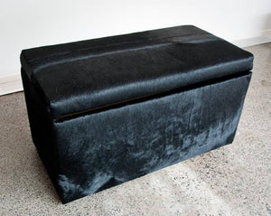 Storage Ottoman Covered in Faux Cowhide or Leather Fabric 90x50x45cm