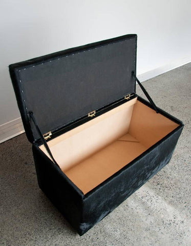Storage Ottoman or Toy Box Covered in Cowhide 90x50x45cm