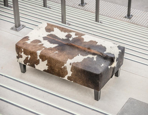 Cowhide Ottoman Auckland with Wood Legs 110x60x40cm Gorgeous Creatures