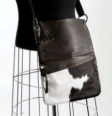 Trio Versatile Shoulder Handbag - Choc & White #11