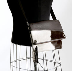 Image of Trio Versatile Shoulder Handbag - Choc & White #12