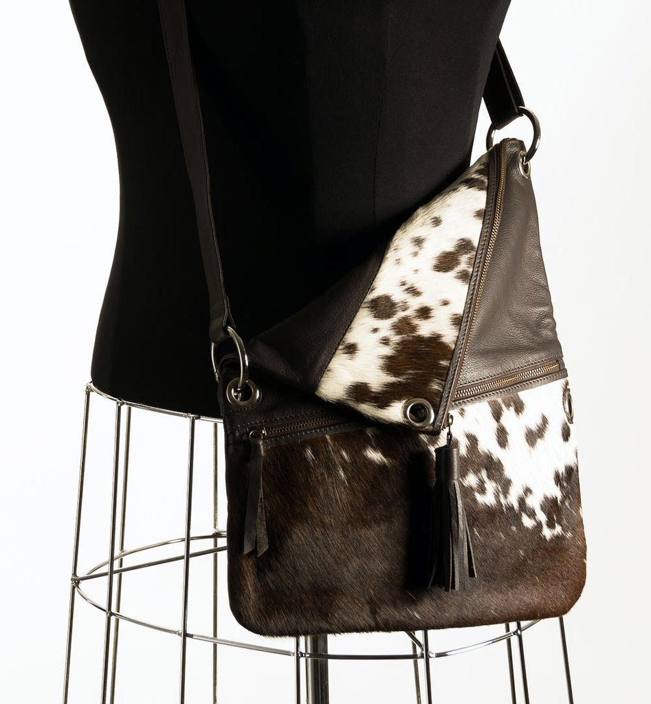 Trio Versatile Shoulder Handbag - Choc & White #8