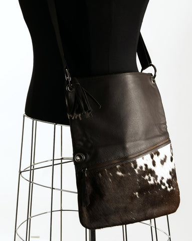Image of Trio Versatile Shoulder Handbag - Choc & White #8