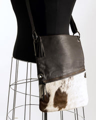 Trio Versatile Shoulder Handbag - Choc & White #9