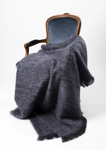 Image of Windermere Tui Grey Mohair Throw Blanket
