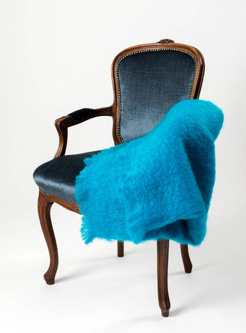 Turquoise Blue Mohair Chair Throw