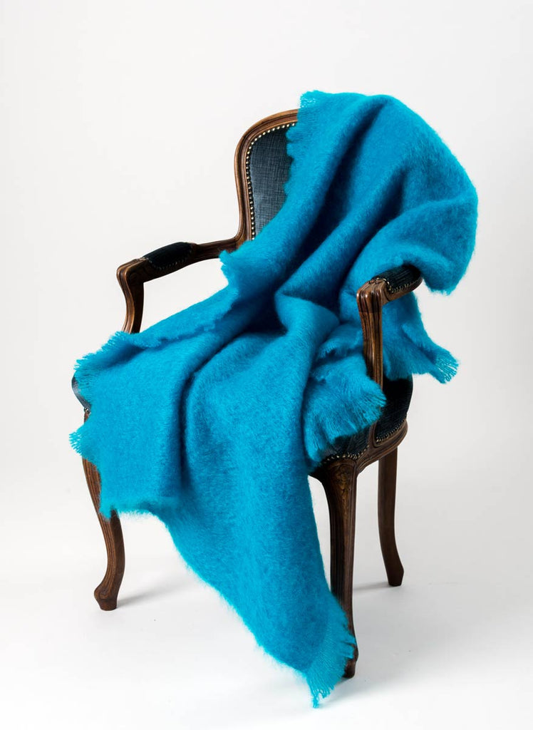 Turquoise Blue Mohair Throw Blanket