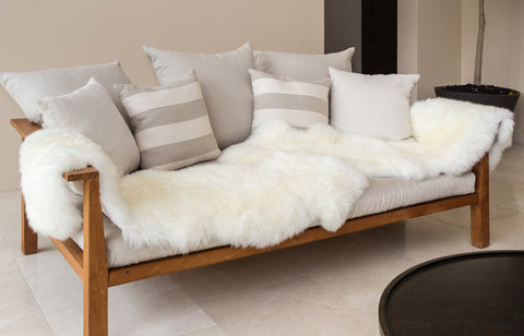 Image of Ivory Wool Sheepskin Rug - Double (2-skin) 60cm x 180cm