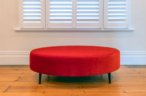 Velvet Oval Ottoman with Black Metal Legs 140x80x43cm
