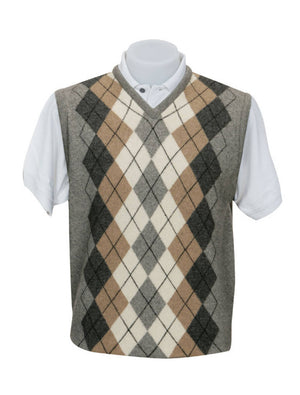 Native World Silver Men's Argyle Vest in Possum Merino Wool - NE306