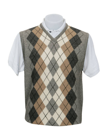 Silver Men's Argyle Vest in Possum Merino Wool - NE306