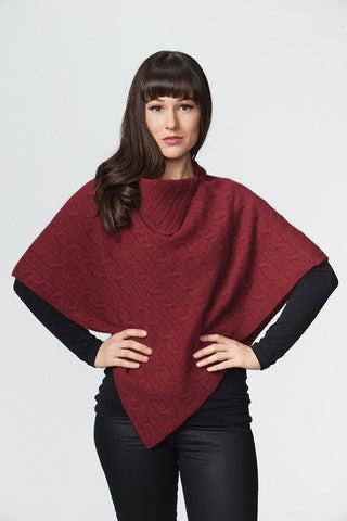 Possumdown Wine Women's Cable Poncho in Possum Merino - W409