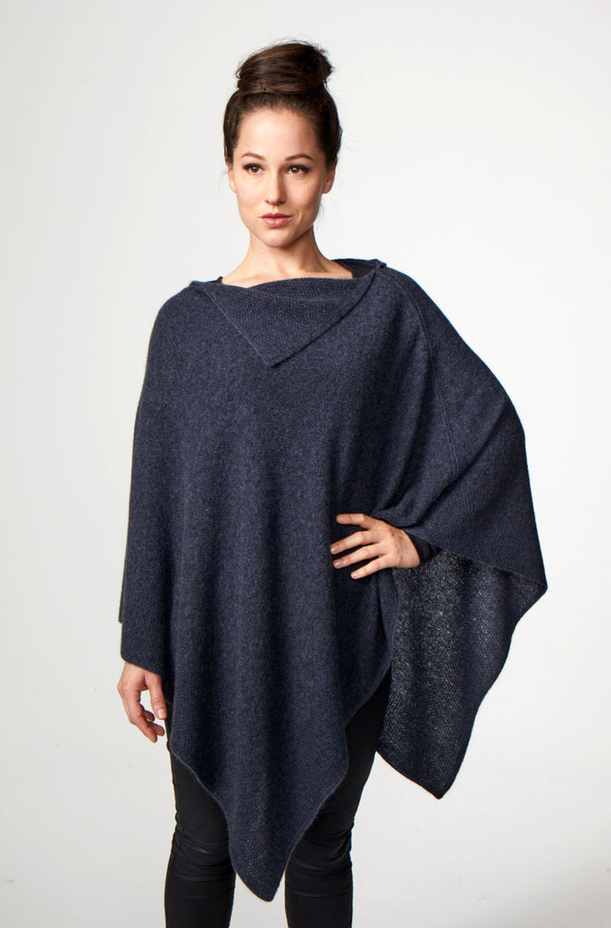 Denim Blue Women's Long Poncho in Possum Merino - W459