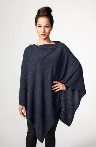 Image of Possumdown Denim Blue Women's Long Poncho in Possum Merino - W459