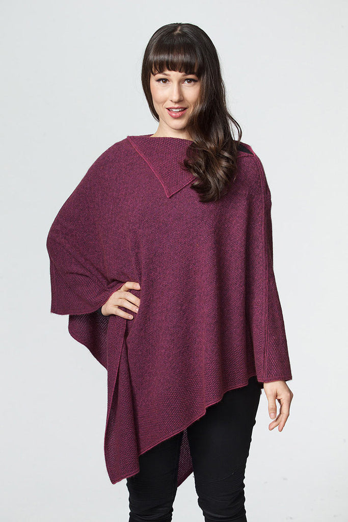Fuchsia Pink Women's Long Poncho in Possum Merino - W459