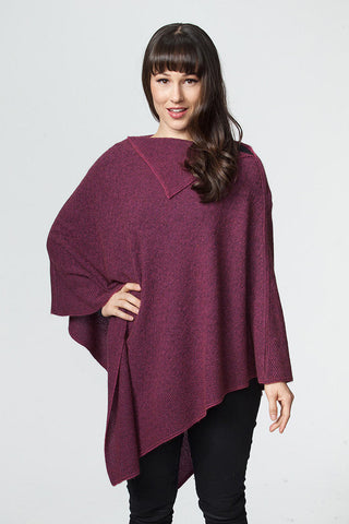 Possumdown Fuchsia Pink Women's Long Poncho in Possum Merino - W459