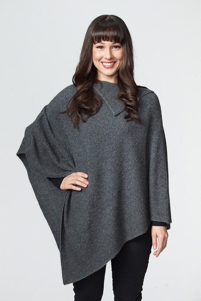Riverstone Grey Women's Long Poncho in Possum Merino - W459