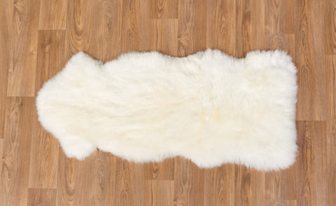 Image of Ivory Wool Sheepskin Rug - One and a Half 1.5 Skins