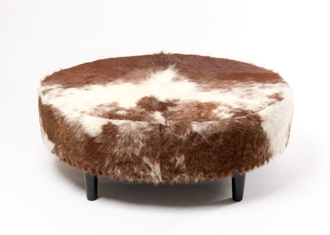 Image of Cowhide Ottoman Wide Oval Wood Legs 110x90x40cm
