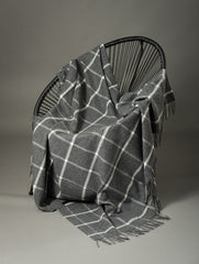 Foxford Lambs Wool Blanket - Mid Grey & White Plaid
