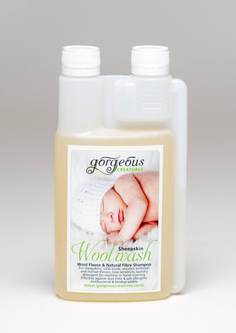 Gorgeous Creatures woolskin wash shampoo to clean a sheepskin rug