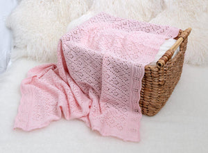 Lacy Merino Wool Baby Blanket - Baby Pink X5552