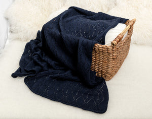 Lacy Merino Wool Baby Blanket - French Navy X5555