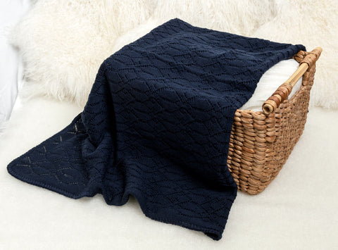 Image of Lacy Merino Wool Baby Blanket - French Navy X5555