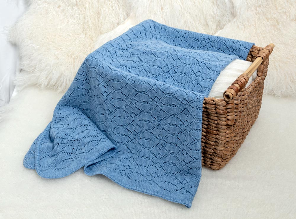 Lacy Merino Wool Baby Blanket - Baby Blue X5555