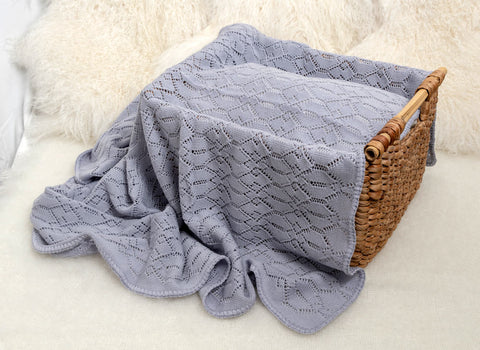 Image of Lacy Merino Wool Baby Blanket - Glacier Grey X5555