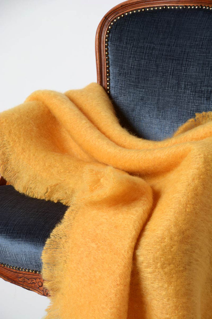 Yellow ochre golden yellow mohair wool blanket