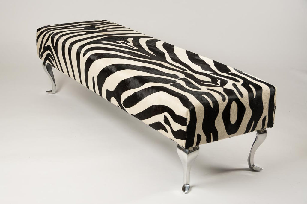 Zebra Ottoman with Queen Anne Curved Aluminium Legs 160x50x42cm #2