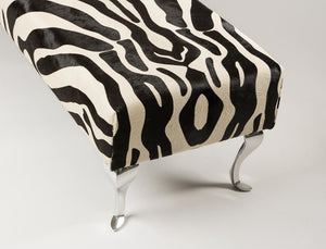 Zebra Ottoman with Queen Anne Legs 160x50x42cm #2