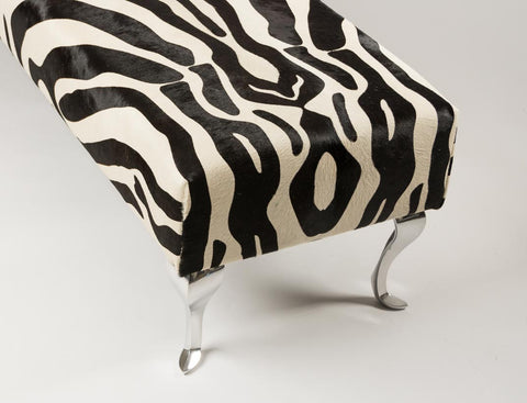 Image of End of bed or bench zebra print cowhide ottoman