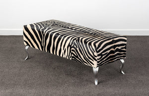Zebra Cowhide Ottoman with Queen Anne legs 110x45x40cm