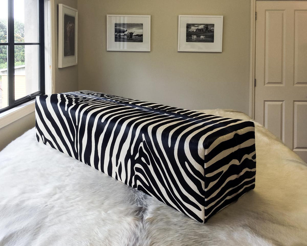 Zebra Cowhide Ottoman Solid Deep Rectangle with Very Low Glides 110x45x40cm