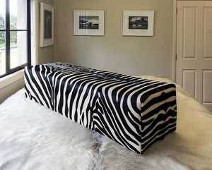 Zebra Cowhide Bench Ottoman with Very Low Glides 110x45x40cm