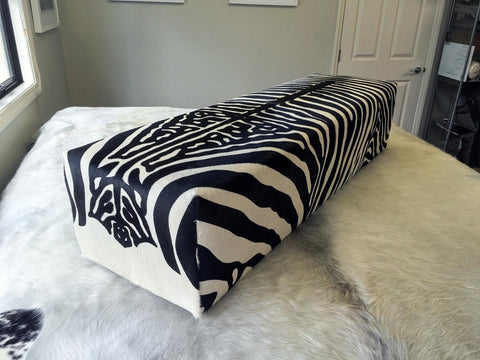 Large bench ottoman covered in zebra print