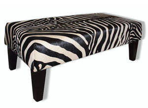 Zebra ottoman made from cowhide