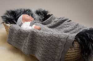 Lacy Merino Wool Baby Blanket - Cloud Grey X5555