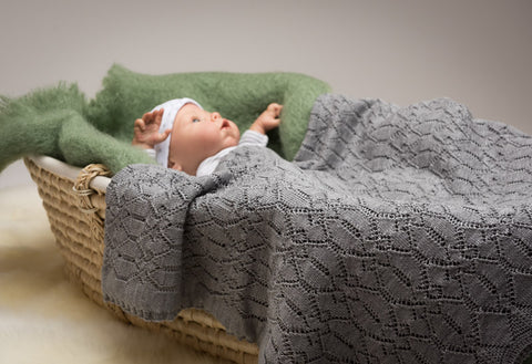 Image of Lacy Merino Wool Baby Blanket - Cloud Grey X5555