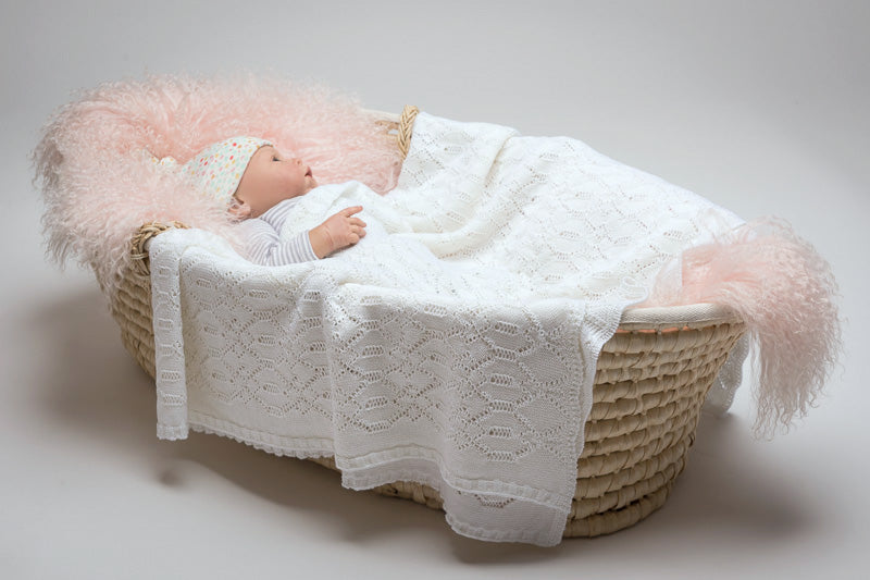 Lacy Merino Wool Baby Blanket - Snow White X5555