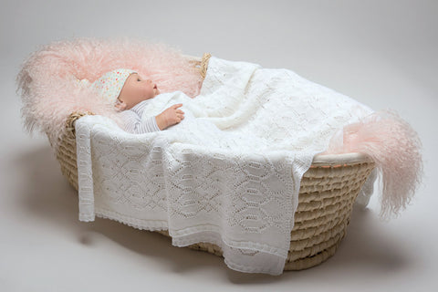Image of Lacy Merino Wool Baby Blanket - Snow White X5555