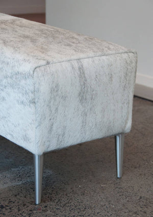 Cowhide Leather Ottoman with Aluminium Legs 120x35x40cm