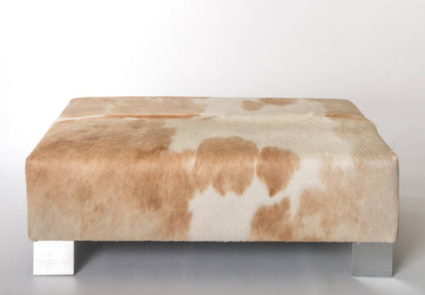 Image of In Stock - Cowhide Ottoman with Metal Morro Legs 110x65x38cm
