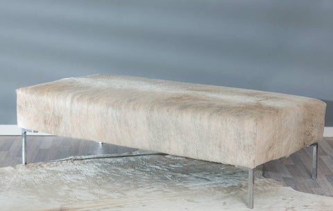 Image of Cowhide Ottoman with Tall Metal Legs 140x70x39cm